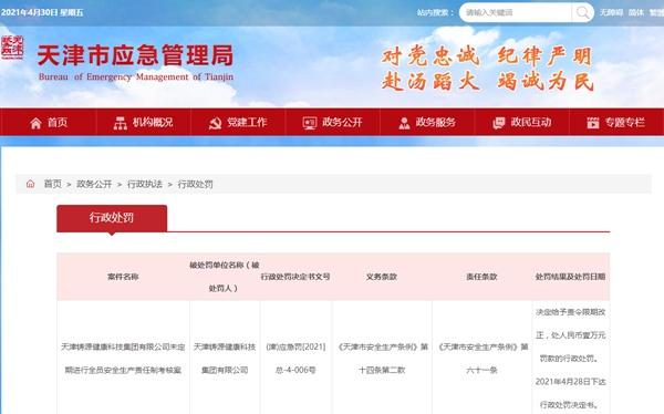天津铸源集团遭罚1万元未定期进行全员安全生产责任制考核